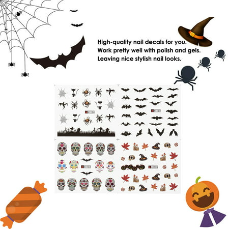 1pc/12sets Nail Manicure Decals Halloween Christmas Stickers Set Nail Art DIY Tools - Pinterest Diy Halloween Nails