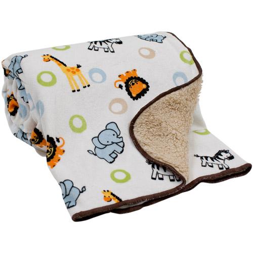 Lambs & Ivy Bedtime Originals Jungle Buddies Velour Sherpa Back Blanket
