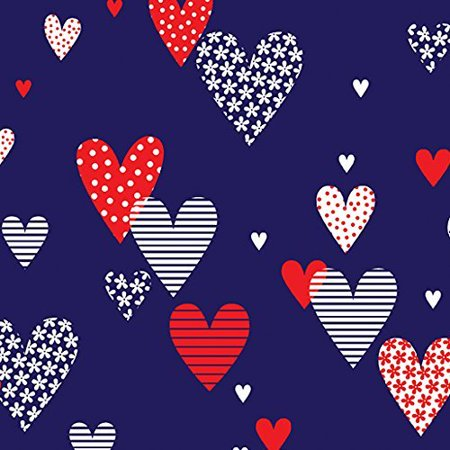 Clearance Sale~Love American Style~Navy Cotton Fabric by Benartex