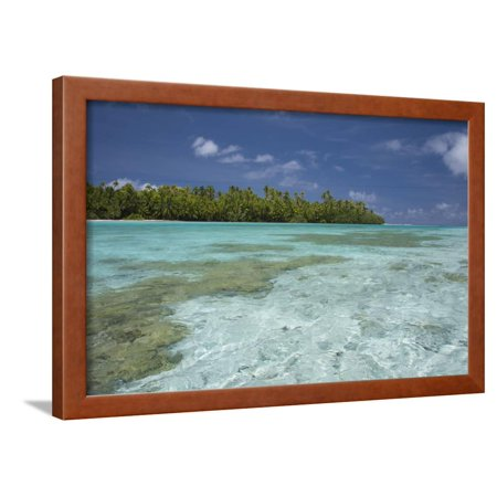 Cook Islands, Aitutaki. One Foot Island, Shallow Lagoon with Coral Framed Print Wall Art By Cindy Miller