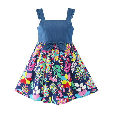 Flower Girls Dress Denim Back To School Sling Sundress 4](Girls Back To School)