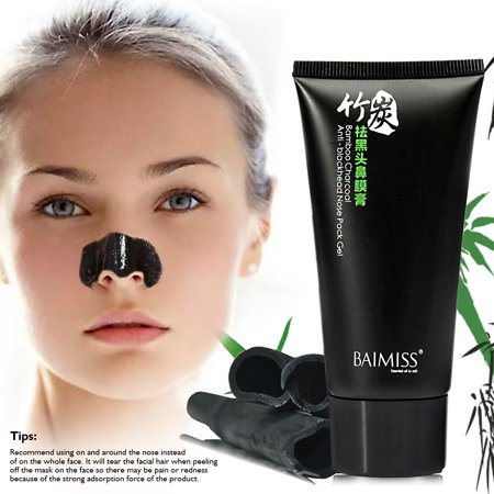 BAIMISS Blackhead Remover Mask, Bamboo Charcoal Mask, Purifying Peel-off Mask, Mask Black Mud Pore Removal Strip Mask For Face Nose Acne Treatment Oil Control