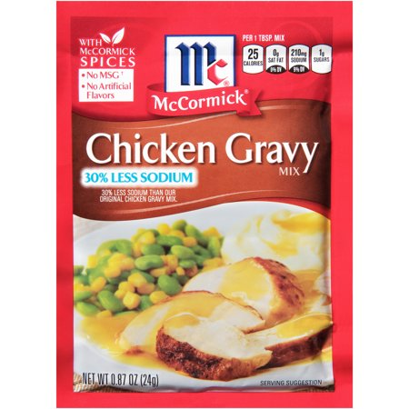 (4 Pack) McCormick 30% Less Sodium Chicken Gravy Mix, 0.87 oz