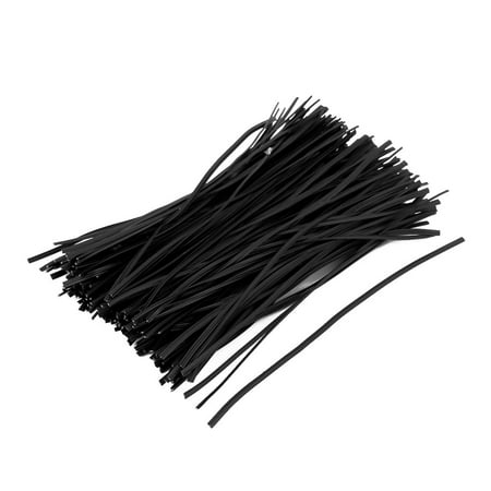 Plastic Coated Cord Packaging Closure Twist Tie Wire Black 150mm x 2mm 200pcs
