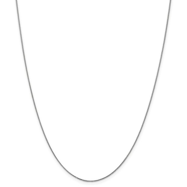 Solid 14k White Gold 0.65mm Diamond-Cut Spiga Pendant Chain Necklace 20""