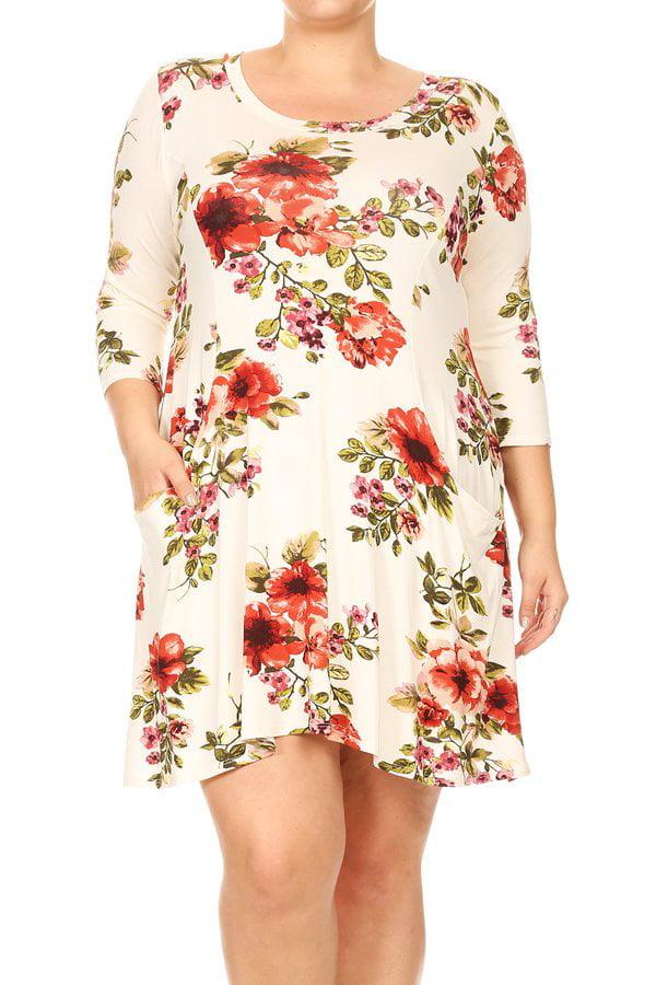Plus Size Women's Trendy Style 3/4 Sleeves print dress