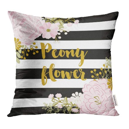 ARHOME Pink Gold Peony Black and White Stripes Flower Peonies Bridal Floral Rose Chic Pillow Case Pillow Cover 20x20 inch Throw Pillow Covers