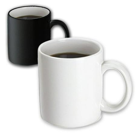 Plain Coffee Mugs (3dRose Pure white - bright colorless plain simple one single solid white color, Magic Transforming Mug,)