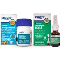 Equate Loratadine Non-Drowsy Allergy Relief Tablets (45 Ct) & Equate Fluticasone Nasal Spray (120 Sprays)