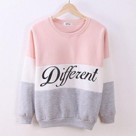 HC-TOP Letter Print Long-sleeved Sweatshirt Color Patchwork O-neck Pullover for Women - image 1 de 3