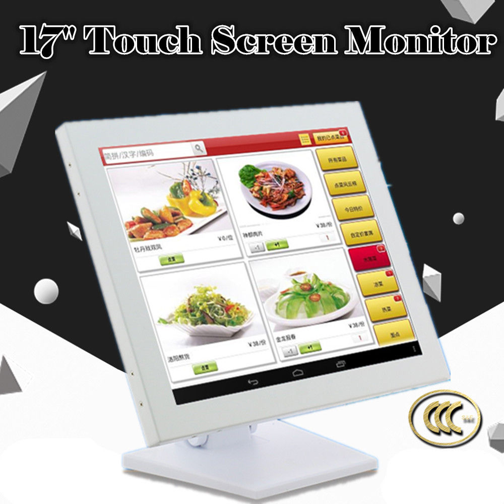 17 Inch Touch Screen Monitor POS for Cashier Restaurant Bar Coffee-Fast Response Catering Order Machine Monitor Cashier For POS Cash Registers Supermarket US Plug