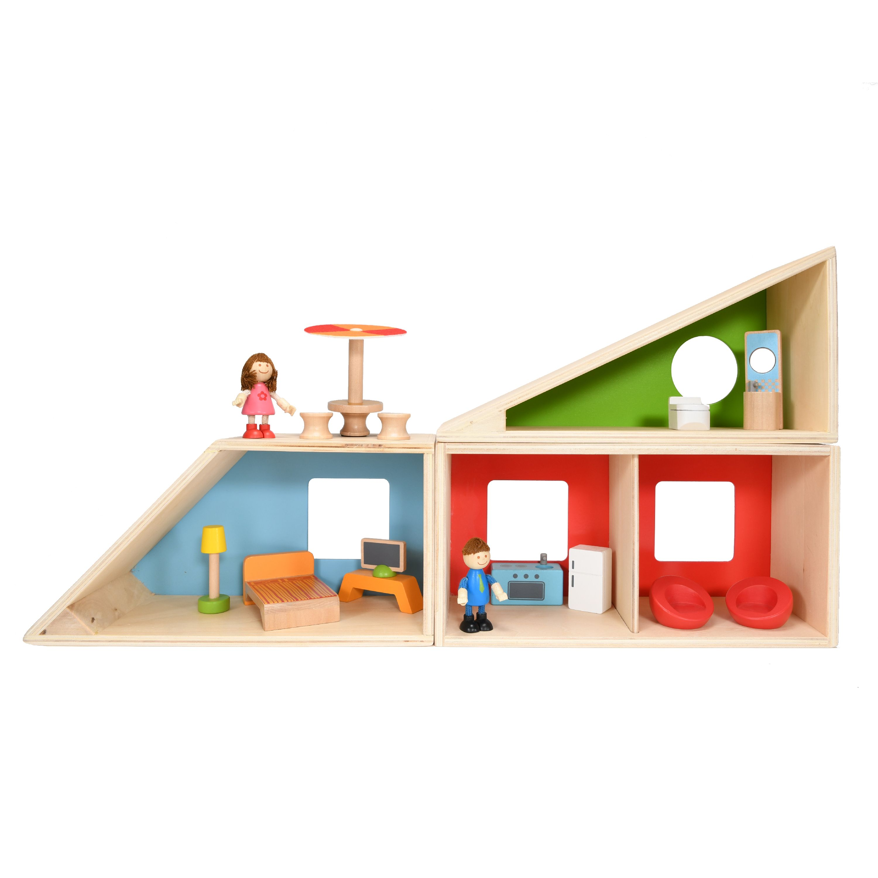 Hape Geometrics Wooden Dollhouse with 18 Play Pieces