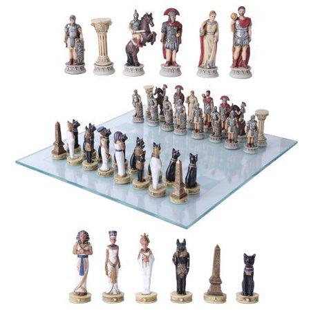 Pharaoh Egyptian Army VS Caesar Roman Empire Centurions Resin Chess Pieces With Glass Board Set