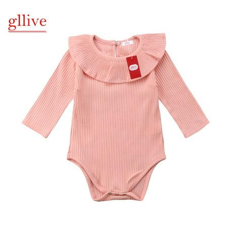 Newborn Baby Girls Romper Long Sleeves Lotus Leaf Collar Bodysuit Outfits - Collar Bodysuit