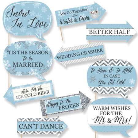 Funny Winter Wonderland - Snowflake Holiday Party & Winter Wedding Photo Booth Props Kit - 10 Piece - Winter Themes For Parties