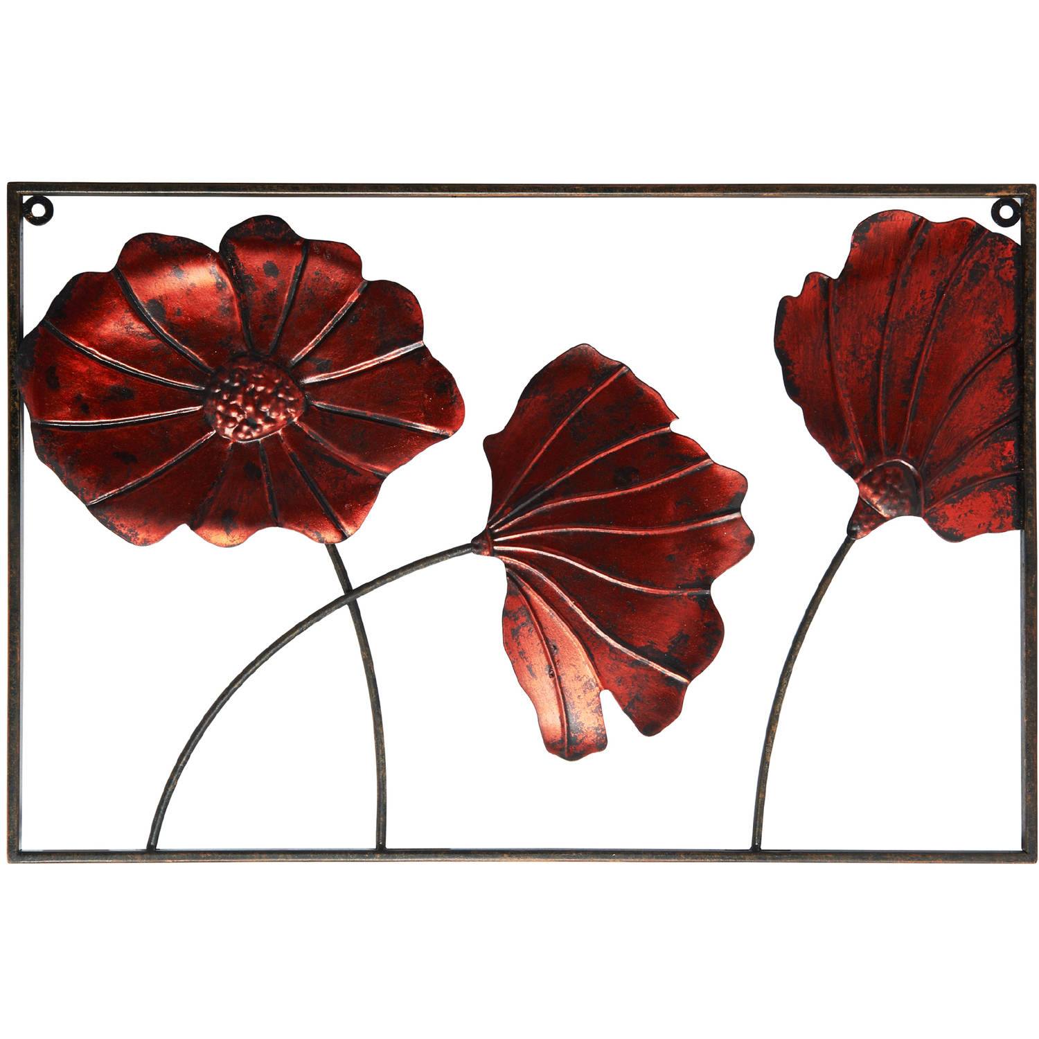 Elements Metal 3 Poppies Wall Panel