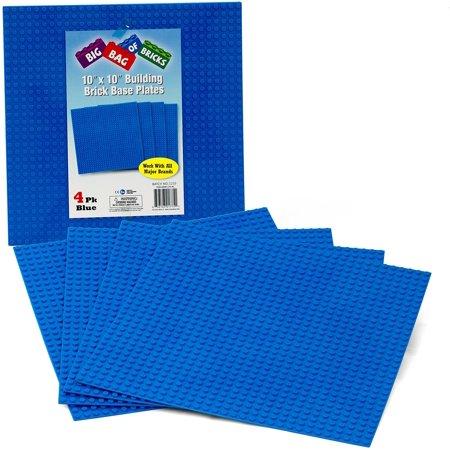 Large Building Plates - Brick Building Base Plates - Large 10x10 Blue Baseplates