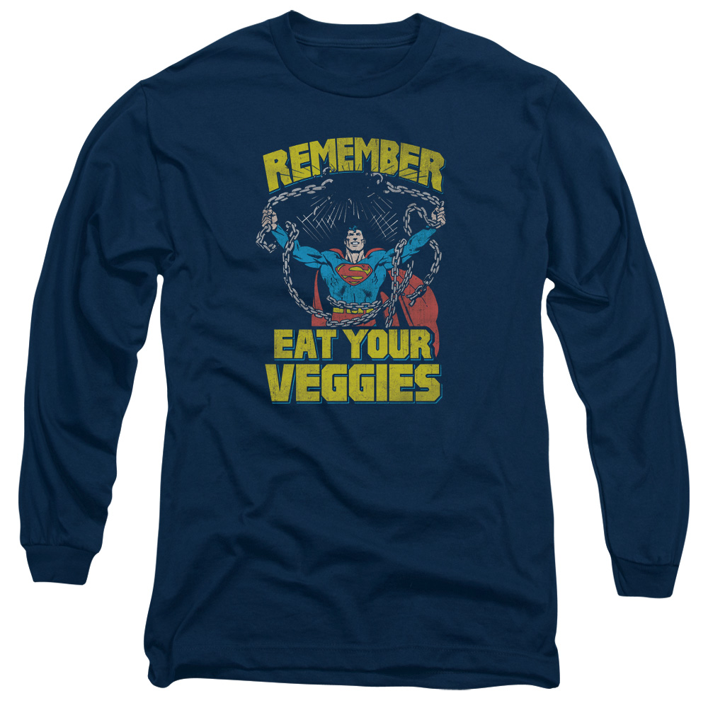 Superman Veggie Power Mens Long Sleeve Shirt