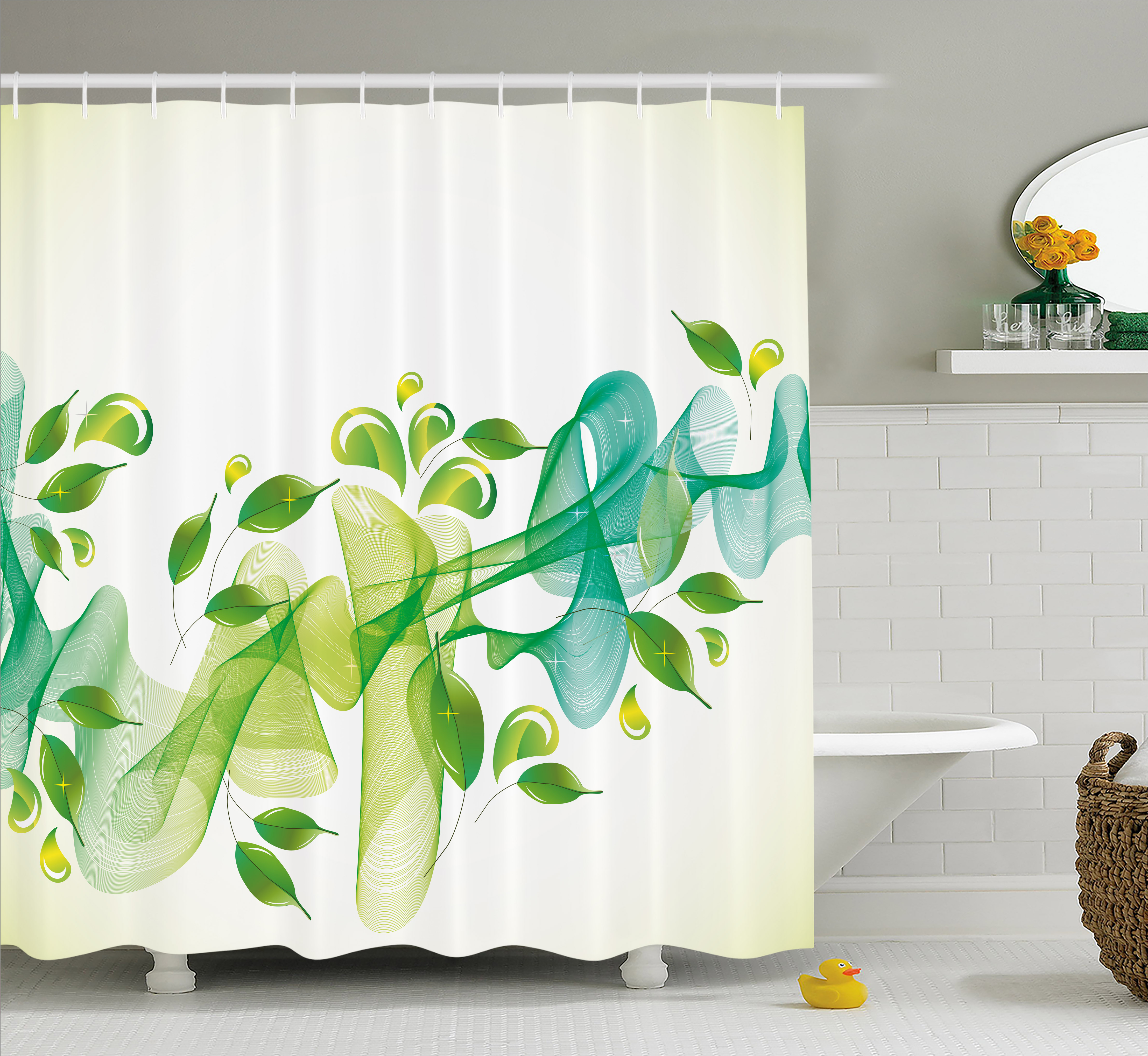 Abstract Shower Curtain Floral Design With Water Touch Inspired Modern Artistic Details Artwork Fabric Bathroom Set With Hooks Yellow Green And