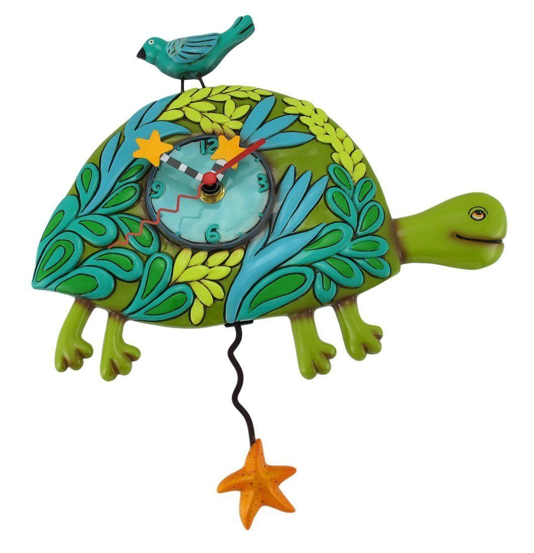 Allen Designs Marshell the Turtle Pendulum Childs Kids Whimsical Wall Clock