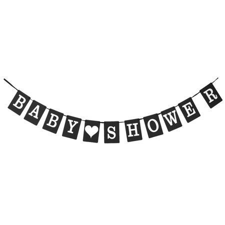 SHOWER Letter Pattern Bunting Sign Banner Photo Prop Party Decor Black - Black Bunting