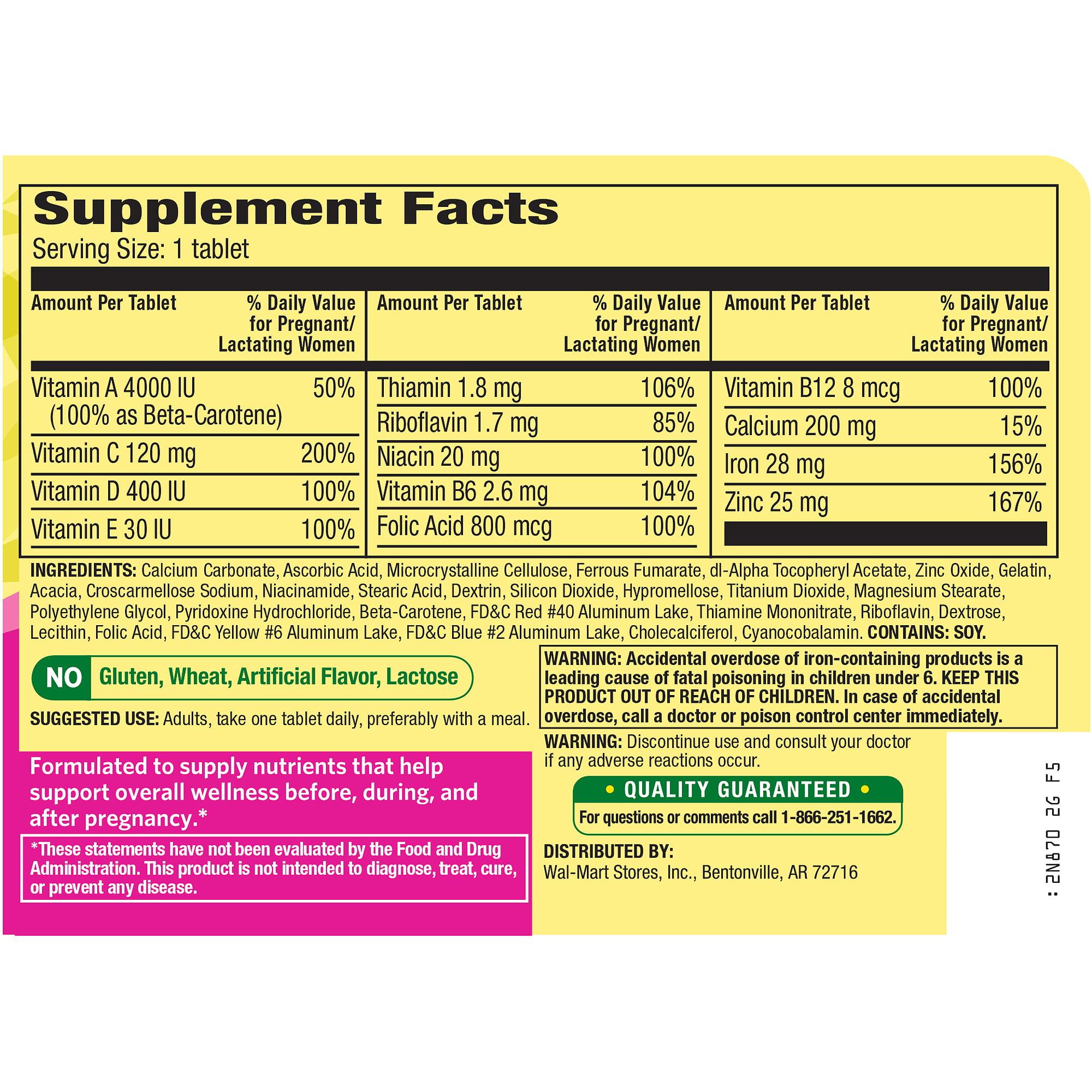 Spring Valley Prenatal Multivitamin Multimineral Folic Acid