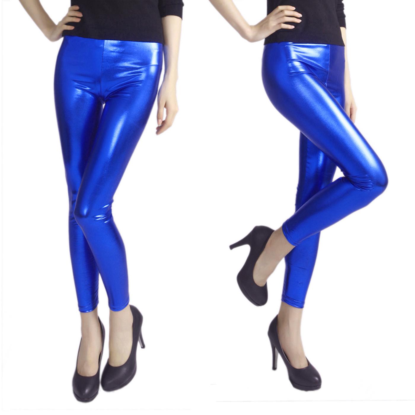 cbbda066c4c HDE - HDE Women Clubwear Shiny Liquid Wet Look Metallic Stretch Leggings  (Hot Pink, Small) - Walmart.com