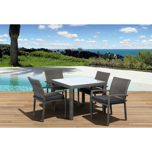 International Home Miami Atlantic Liberty 5 Piece Dining Set with Cushions
