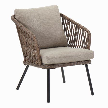 Mainstays Battle Creek Wicker Patio Lounge Chair with Cushions, Set of 2 Creek House 2 Piece