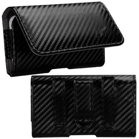 Mundaze Carbon Fiber Look Belt Clip Pouch Case for Apple iPhone 5C ()