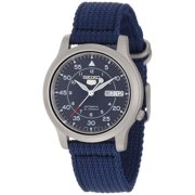 Seiko Men's 5 Blue Canvas Automatic Watch, SNK807