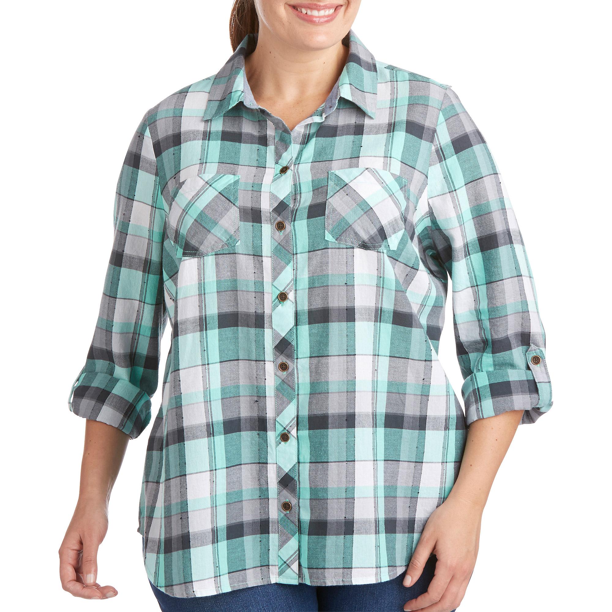 Women S Plus Size Plaid Button Down Shirt Walmart Com