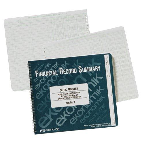 """Ekonomik Wirebound Check Register 40 SHeet[s] Wire Bound 8.75"""" X 10"""" SHeet Size White 1each (EKOR) by"""