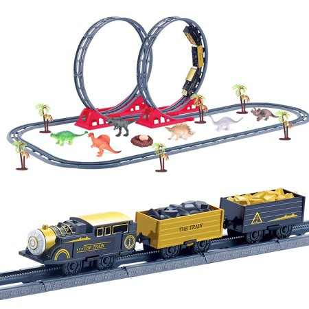 61 PCs Train Set with 46 Tracks, 1 Toy Train, 6 Dinosaur Toys, 6 Trees, 1 Dinosaur Egg and 1 Nest, Batteries Operated Toy Train Set with Light and Sound, Xmas Gifts for Boys & Girls F-360 ()