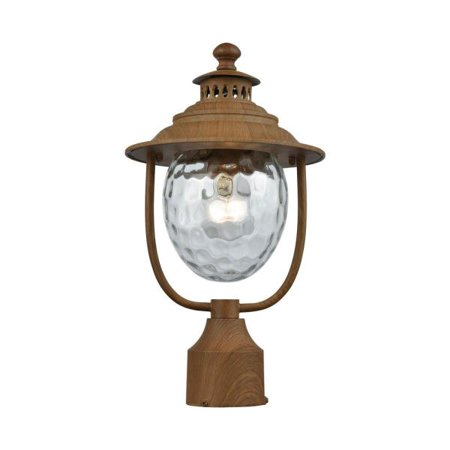 Elk Lighting Searsport - One Light Outdoor Post Mount, Dark Wood Finish with Clear Water Glass