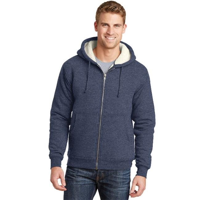 CS625 Heavyweight Sherpa Lined Hooded Fleece Jacket, Navy - Extra Large