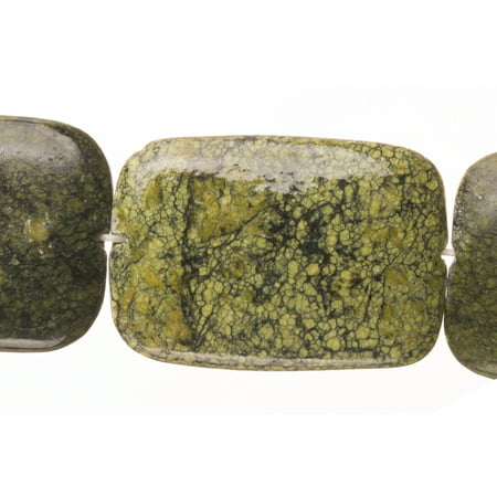 Rounded Square - Shaped Moss Agate Beads Semi Precious Gemstones Size: 36x25mm Crystal Energy Stone Healing Power for Jewelry