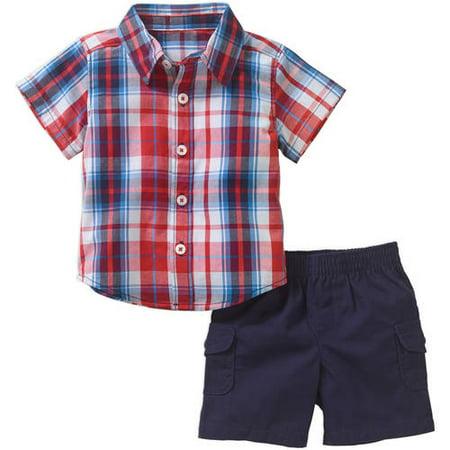 Healthtex Newborn Baby Boy Short Sleeve Button Down Shirt and Cargo Short 2-piece Outfit Set