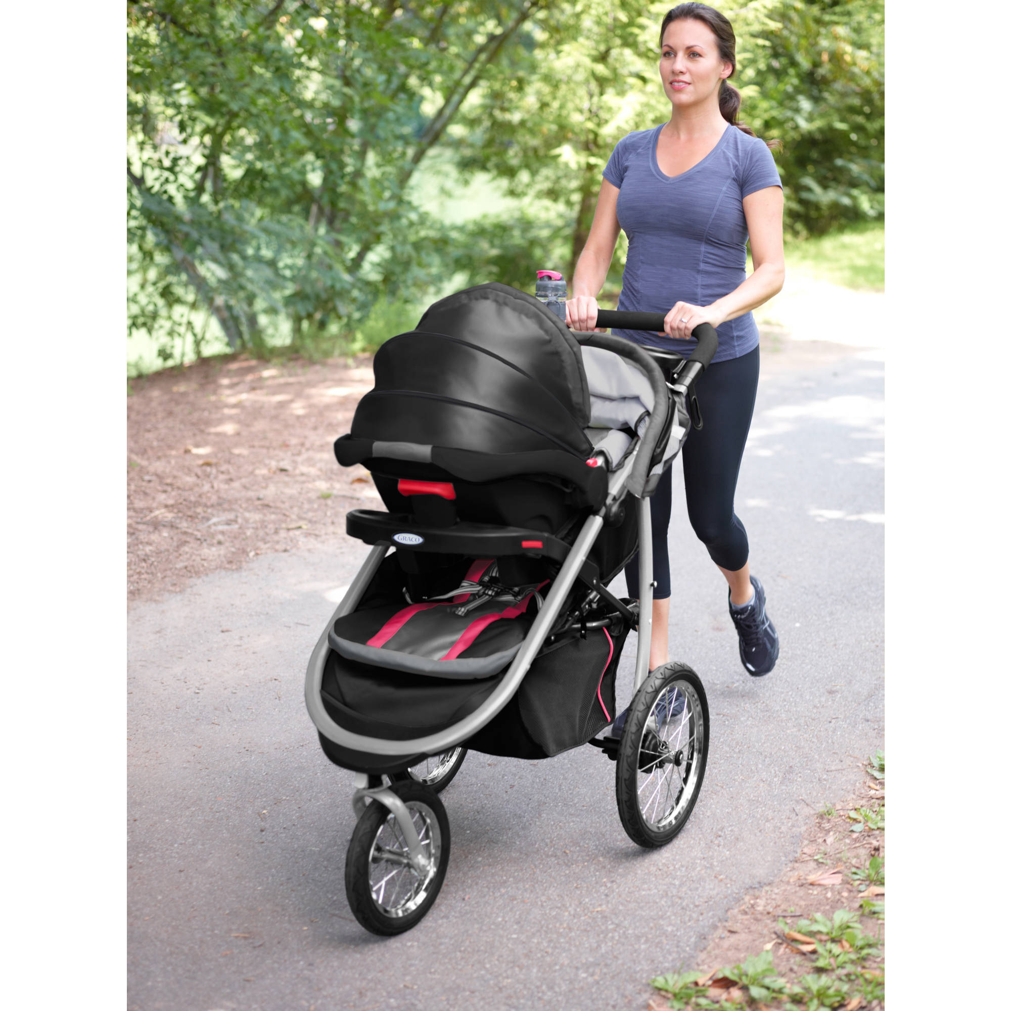 Graco FastAction Fold Jogger Connect Jogging Stroller Azalea Walmart