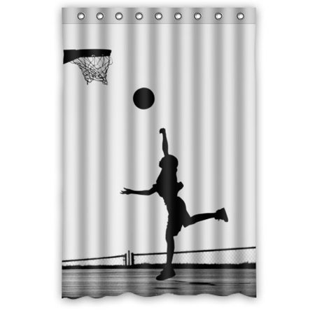 Greendecor Basketball Silhouette Love Sport Waterproof Shower Curtain Set With Hooks Bathroom Accessories Size 48x72 Inches