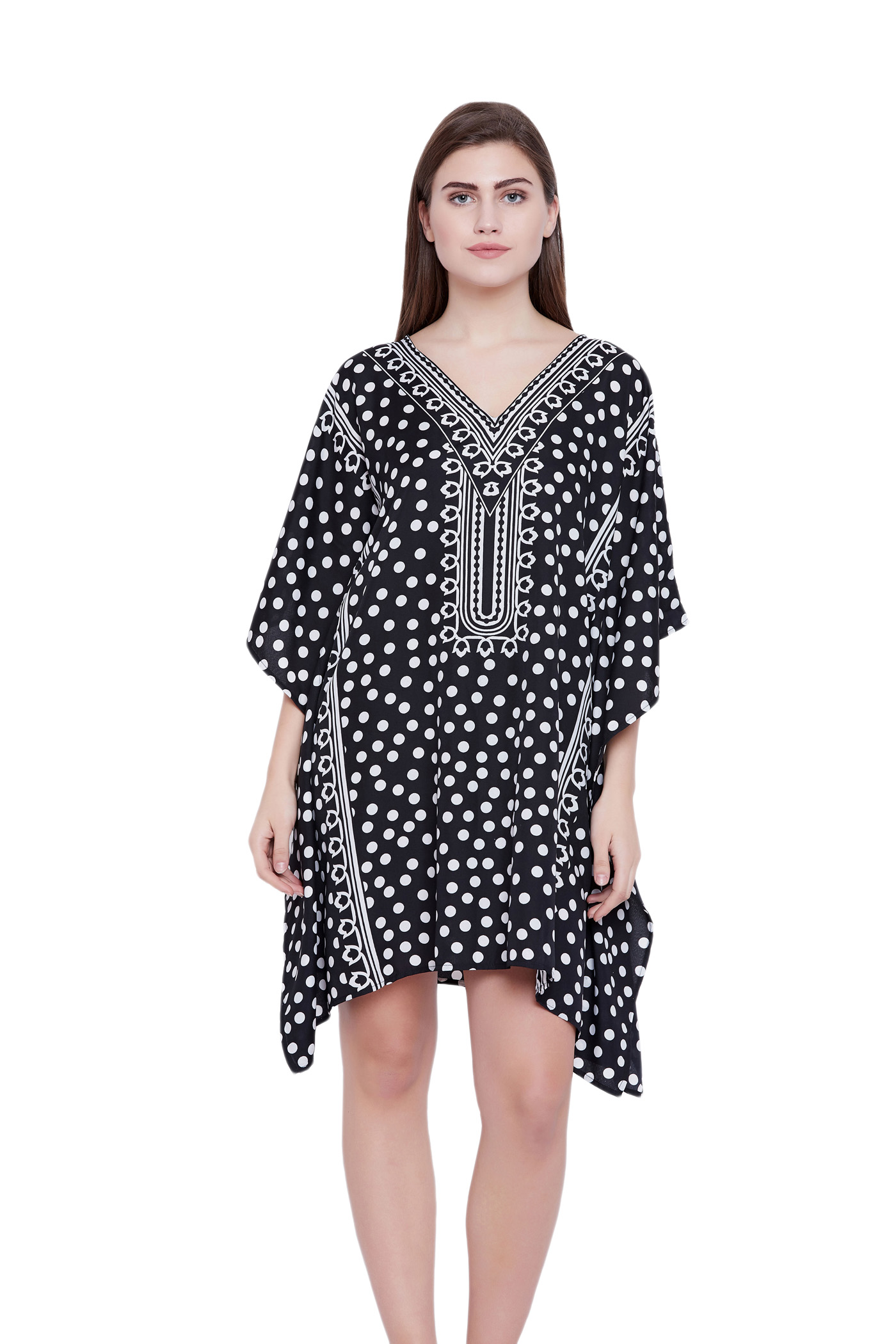 black tunics for women polka dot printed ladies plus size