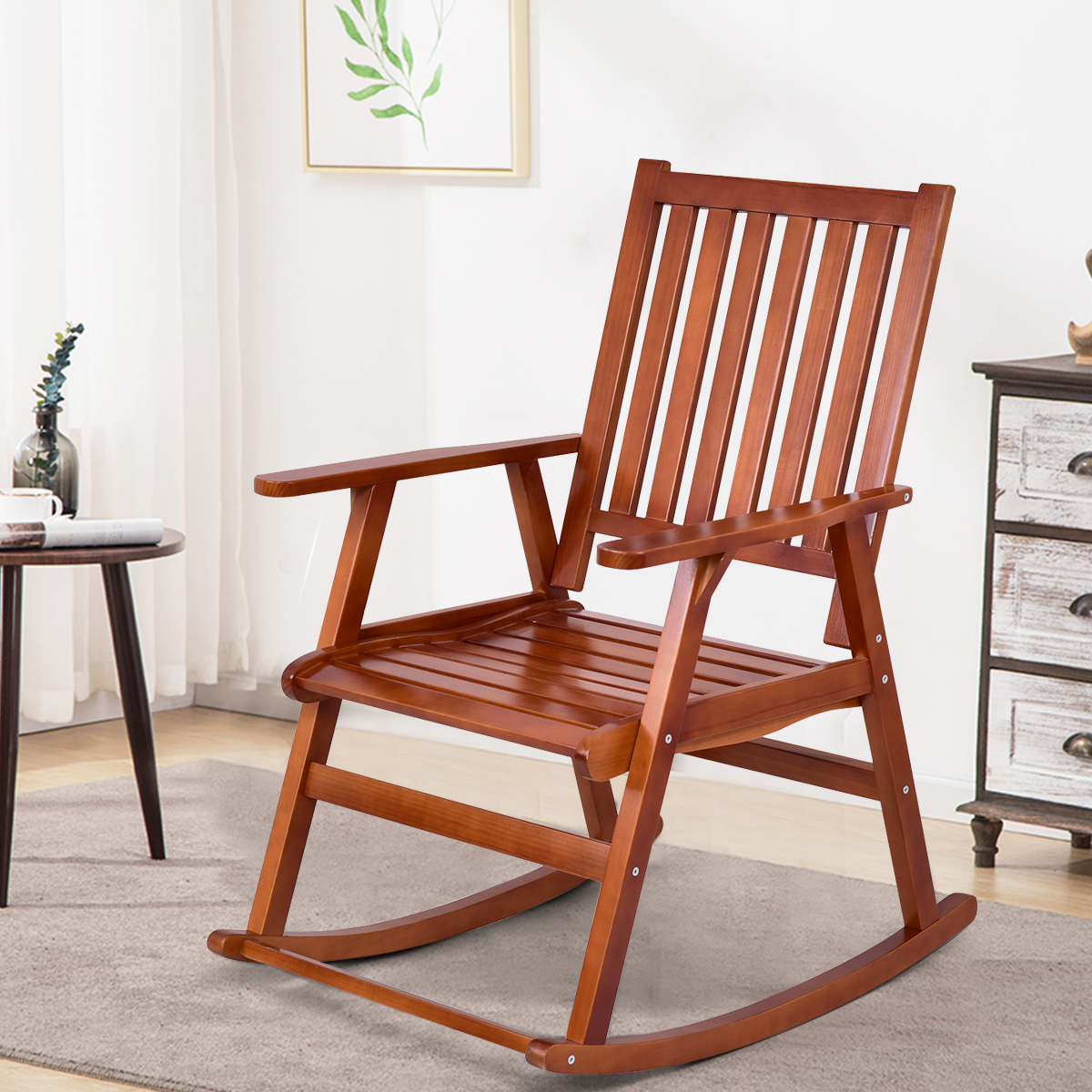 Costway Wood Rocking Chair Single Porch Rocker Indoor Outdoor Patio Furniture Natural