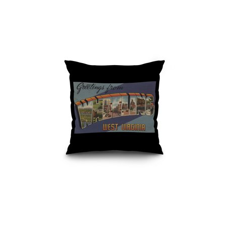 Greetings From Wheeling  West Virginia  16X16 Spun Polyester Pillow  Black Border