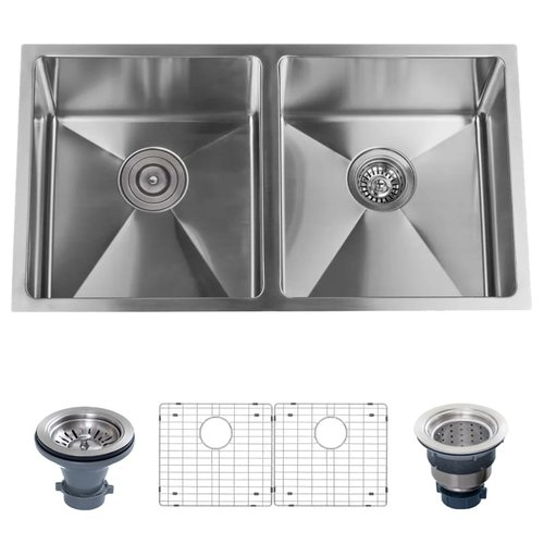 Miseno Stainless Steel 32'' L x 18'' W Double Basin Undermount Kitchen Sink with 50/50 Split