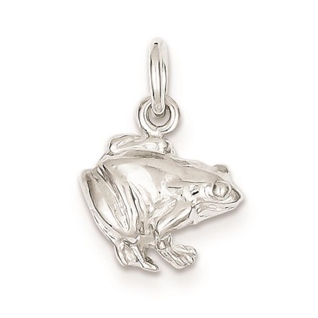 Sterling Silver Frog Solid Open back 3-D Charm Pendant 14mmx13mm