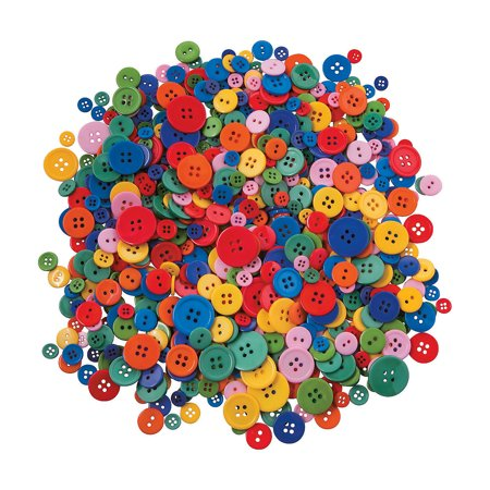 Buttons Supply - Fun Express - Rainbow Bright Plastic Craft Buttons - Craft Supplies - Scrapbooking Embellishments - Misc Scrapbooking Embellishments - 800 Pieces