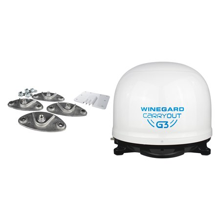 Winegard GM-9000 Carryout G3 Portable Automatic Satellite Antenna (White) & RK-4000 Roof Mount Kit