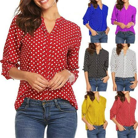 Women's Fashion V Neck Polka Dot Loose Blouse Long Sleeve Shirt - Poka Dots