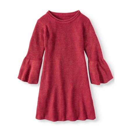 Bell Sleeve Metallic Sweater Knit Dress (Big Girls) - Party Dresses For Girls 7 14