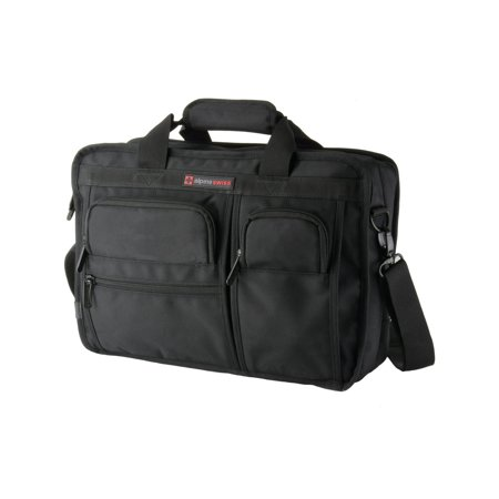 Alpine Swiss Conrad Messenger Bag 15.6 Inch Laptop Briefcase with Tablet Sleeve Black One Size